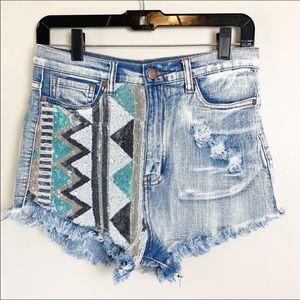 Aztec High Waisted Jean Distressed Shorts Medium